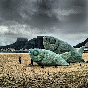 fish sculptures made from plastic bottles