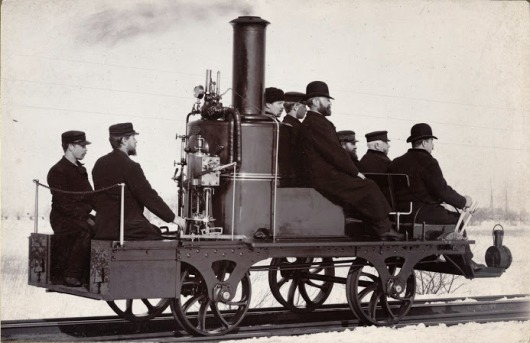 Steam trolley on the railway Gothenborg an Halland in Sweden.-Photo Fotofirma Vikner K & A, 1891