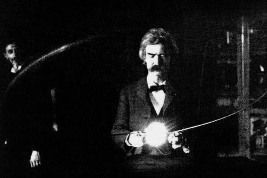 Mark Twain at Nikola Tesla Laboratory, 1894