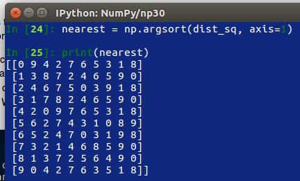 numpy sort array by column